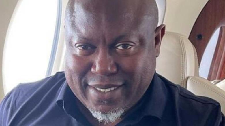 Simon Guobadia on a plane