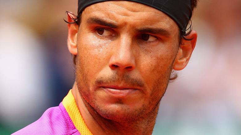 Rafael Nadal playing tennis