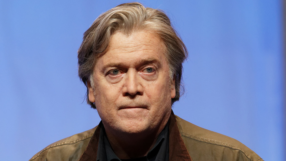 Steve Bannon stares off into the distance