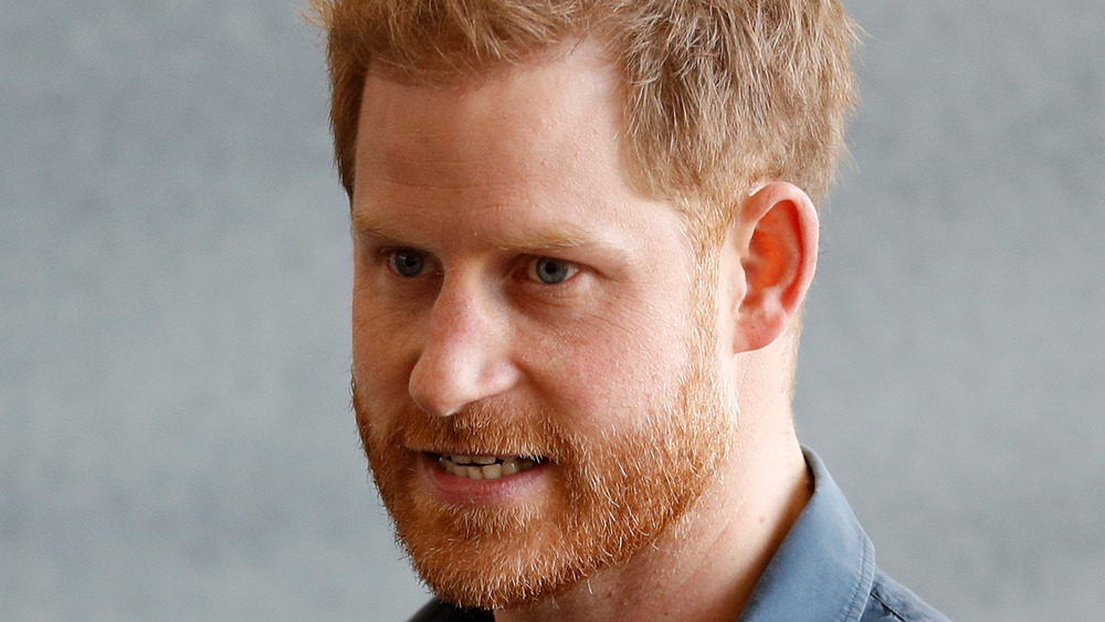 Prince Harry looking agitated