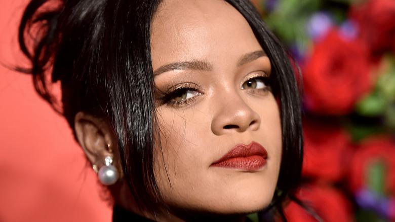 Rihanna wearing red lipstick