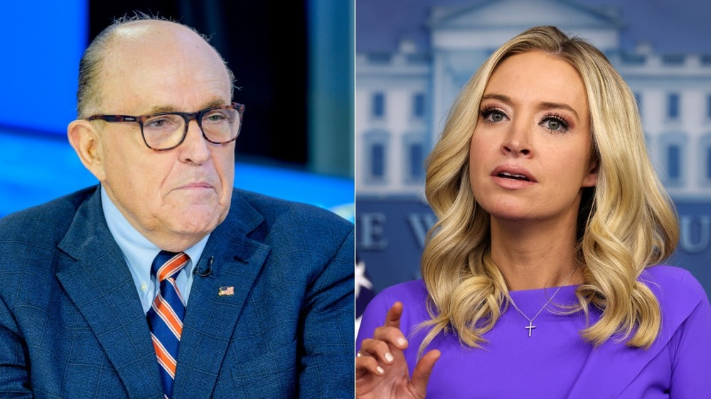 Split image of Rudy Giuliani and Kayleigh McEnany both looking serious