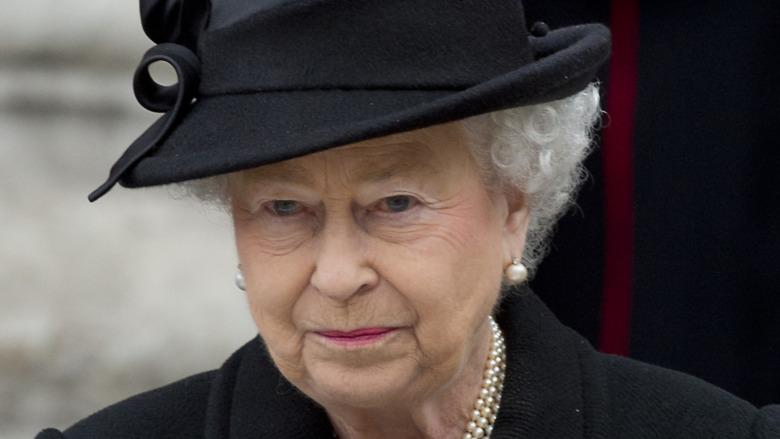 Queen Elizabeth II wearing black