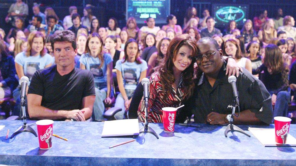 Simon Cowell, Paula Abdul, and Randy Jackson at the judges' table on American Idol