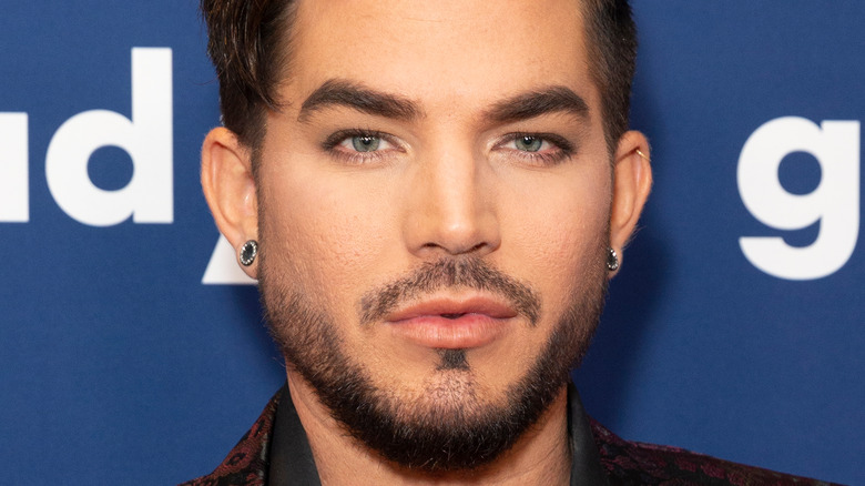 Adam Lambert gives a smouldering look on the red carpet