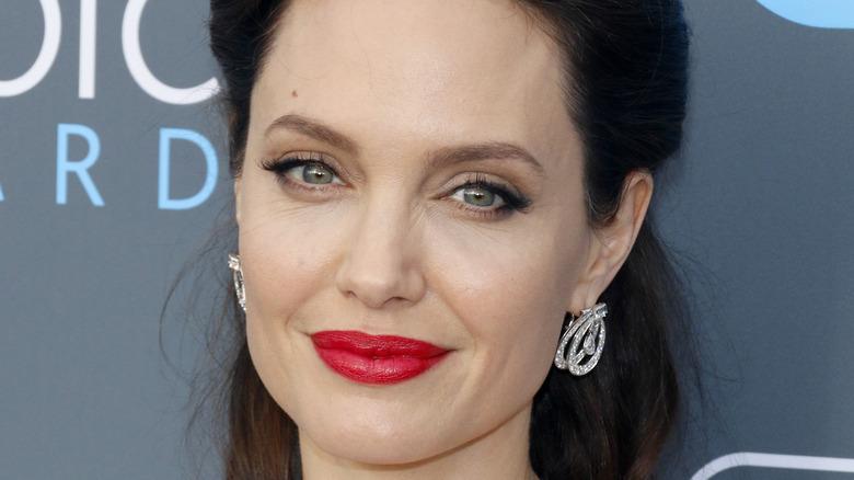 Angelina Jolie wearing red lipstick