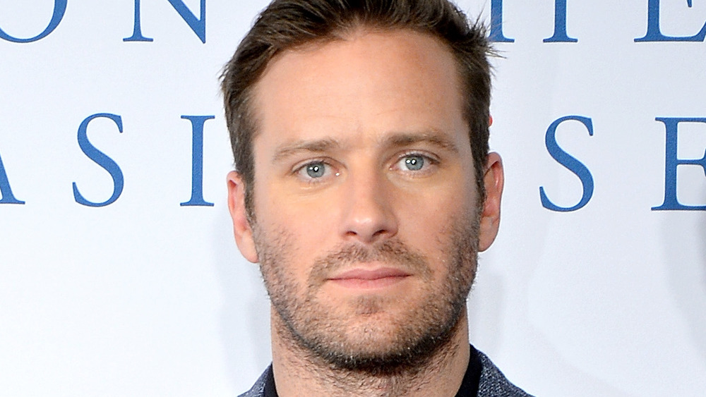 Armie Hammer poses in a gray suit