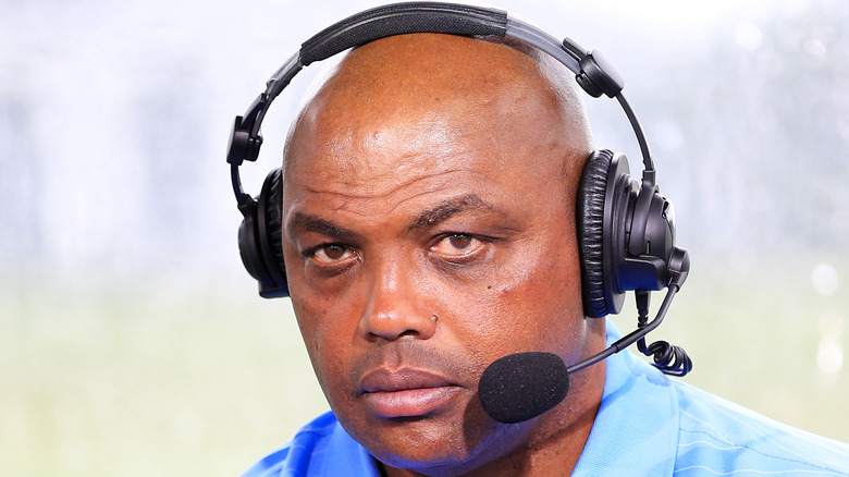 Charles Barkley commentates from the booth during The Match: Champions For Charity at Medalist Golf Club