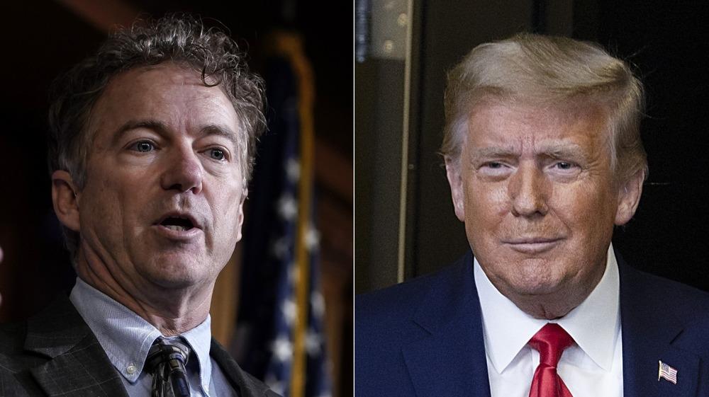Rand Paul and Donald Trump split image
