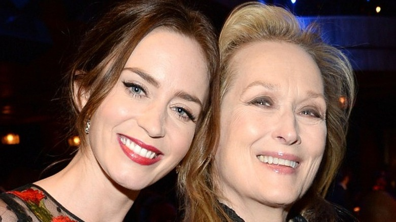 Emily Blunt and Meryl Streep smiling together