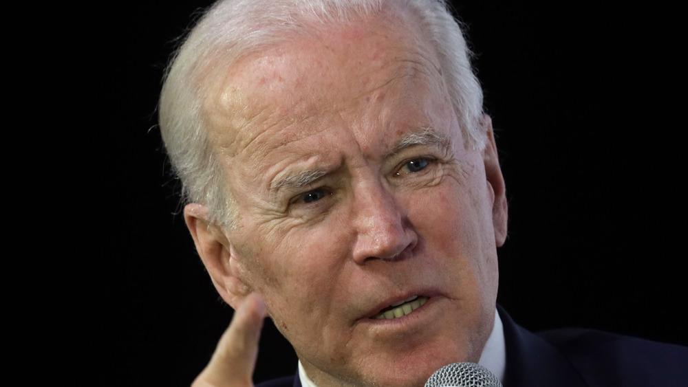Joe Biden pointing while speaking