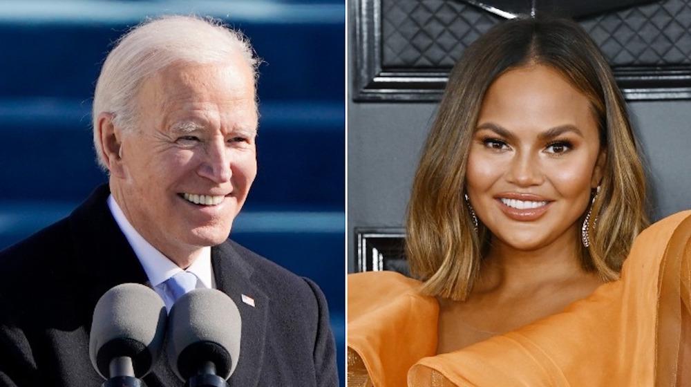 Joe Biden and Chrissy Teigen side-by-side