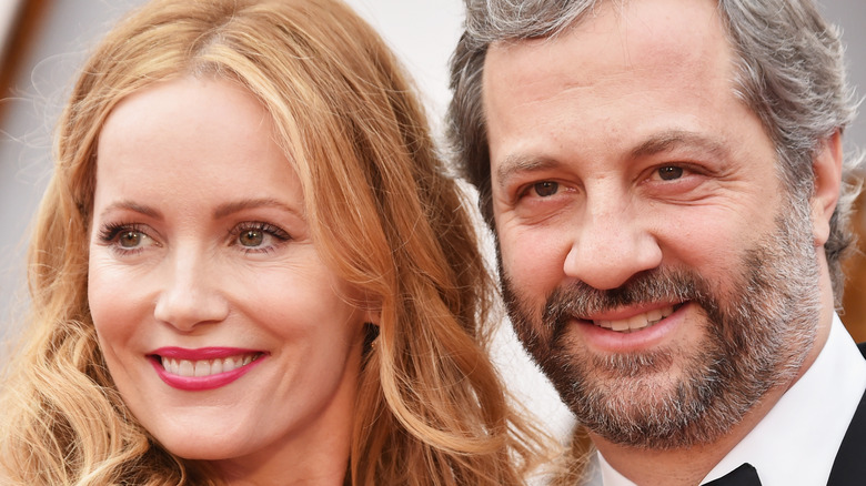 Judd Apatow and Leslie Mann smiling