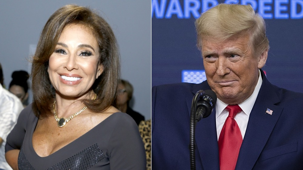 Jeanine Pirro smiling, Donald Trump with a worried expression