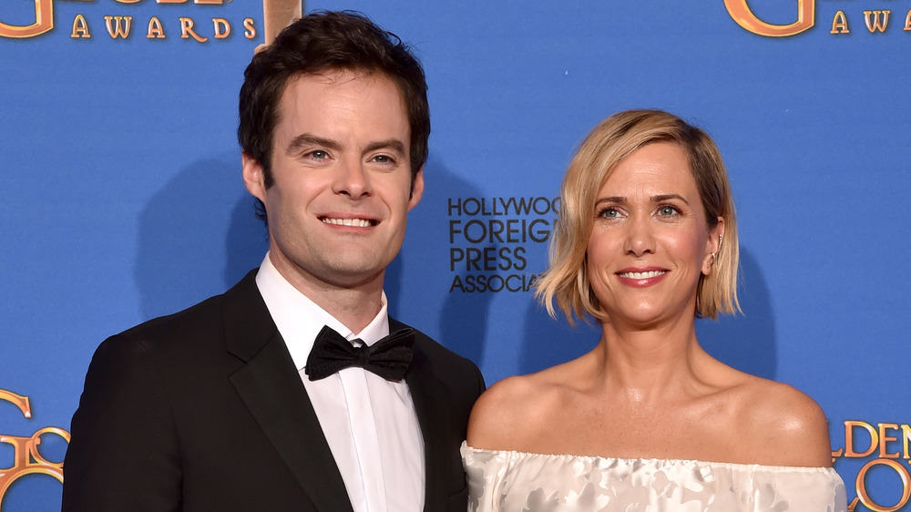 Bill Hader and Kristen Wiig at the Golden Globes