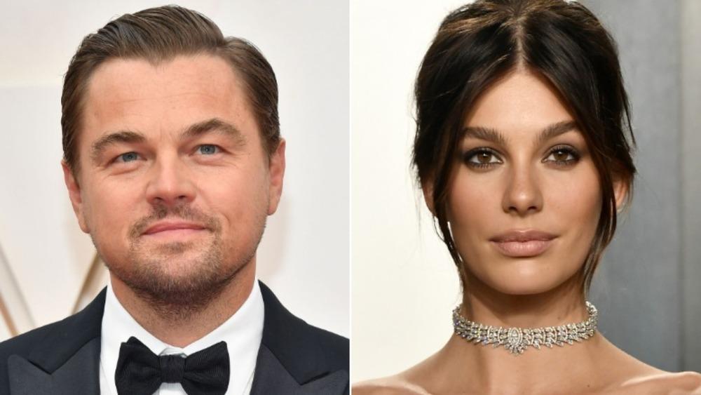 Leonardo DiCaprio and Camila Morrone smiling