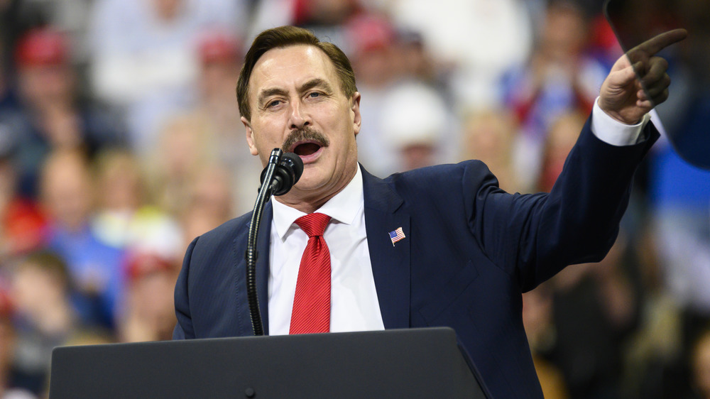 Mike Lindell speaking at a Trump rally
