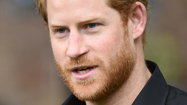 Prince Harry with mouth slightly open
