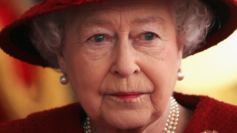 Queen Elizabeth staring