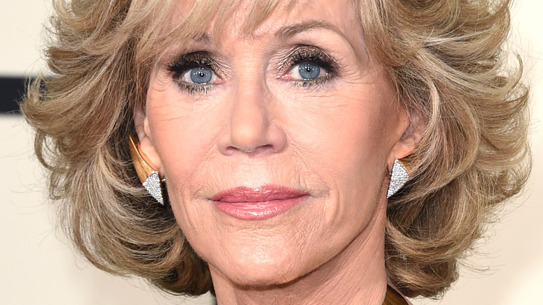 Jane Fonda poses with short blonde hair
