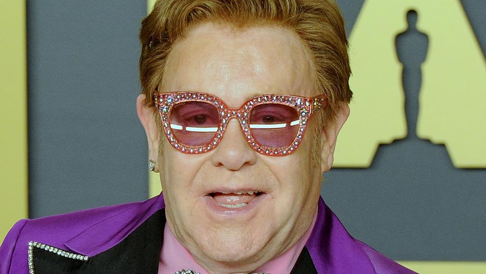 Elton John in bedazzled glasses