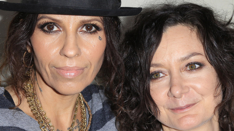 Linda Perry and Sara Gilbert at An Evening with Women kick-off concert in 2014