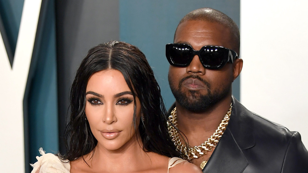Kim Kardashian and Kanye West on a red carpet