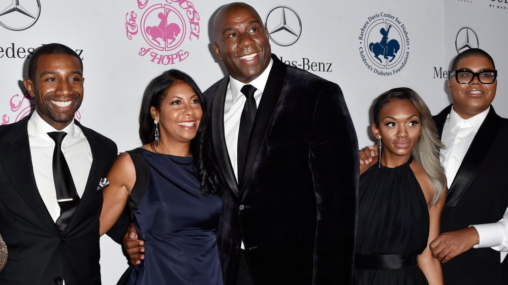 Andre, Cookie, Magic, EJ and Elisa Johnson all on red carpet