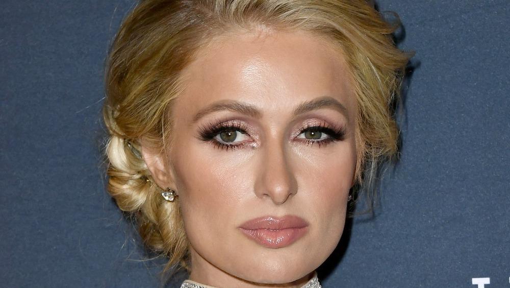 Paris Hilton looking serious