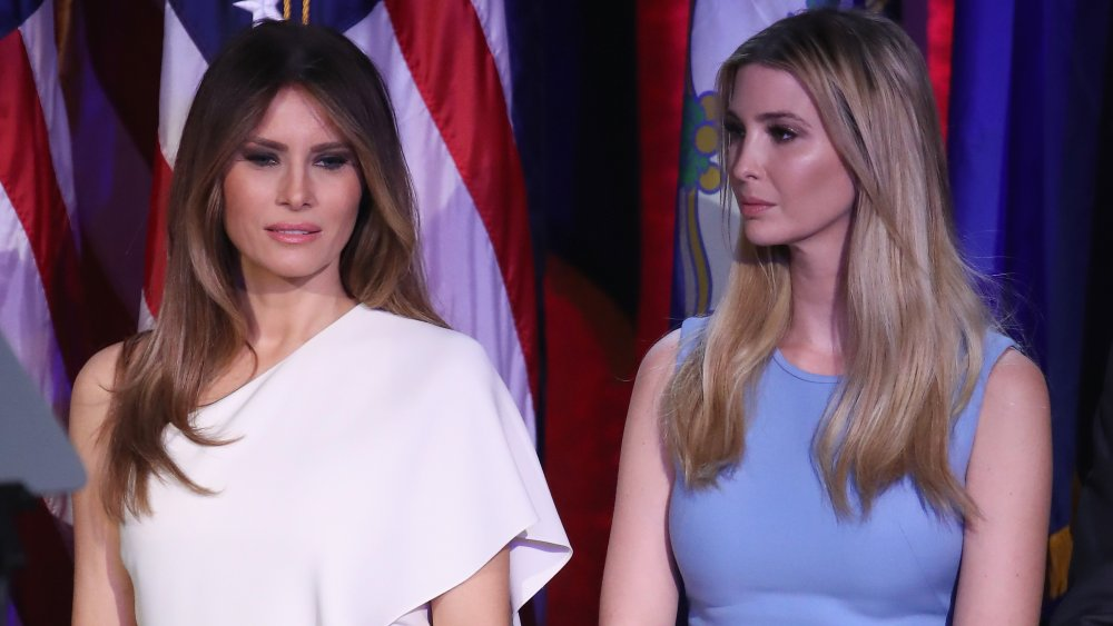 Melania Trump and Ivanka Trump stand on stage during Republican president-elect Donald Trump's election night event at the New York Hilton Midtown
