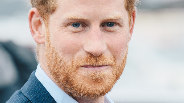 Prince Harry pursed lips