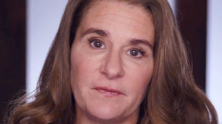 Melinda Gates looking directly into the camera