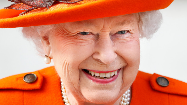 Queen Elizabeth smiling in 2021