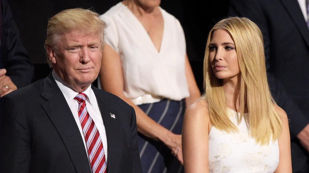 Ivanka Trump looking at Donald Trump at a rally