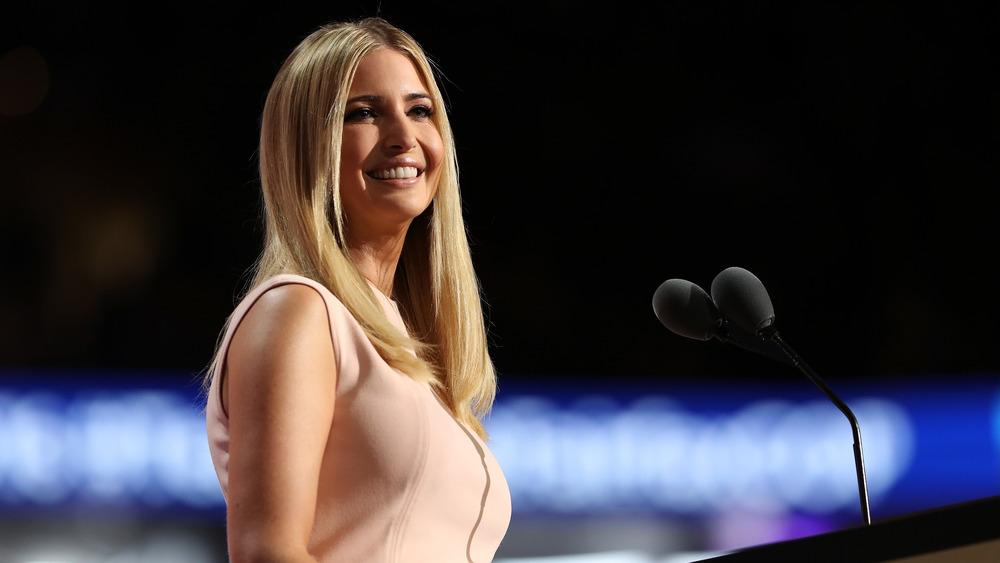 Ivanka Trump smiling at podium