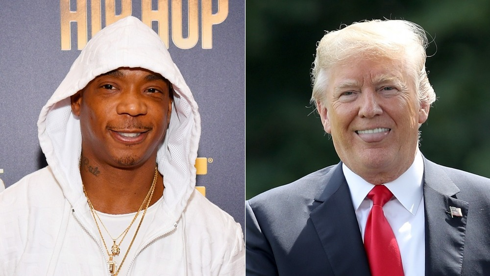 Ja Rule smiling and Donald Trump sticking his tongue out