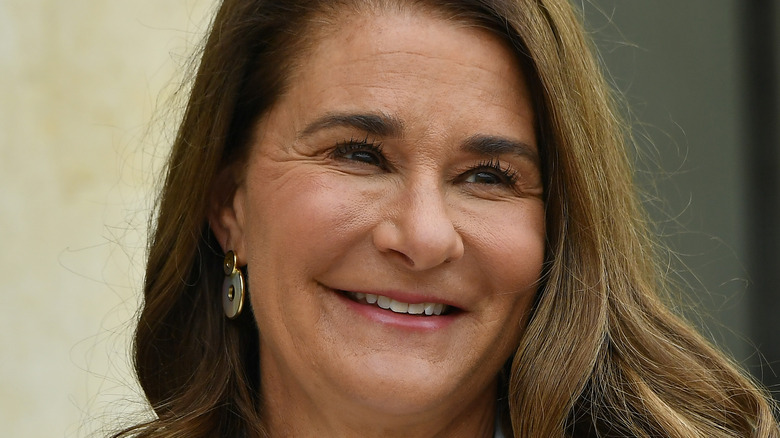 Melinda Gates at Elysee Palace for the Generation Equality Forum hosted by French President Emmanuel Macron on July 01, 2021