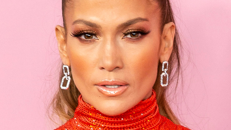 Jennifer Lopez with serious expression on the red carpet