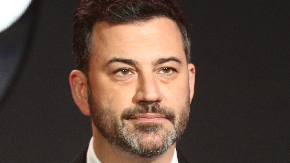 Jimmy Kimmel with a serious expression