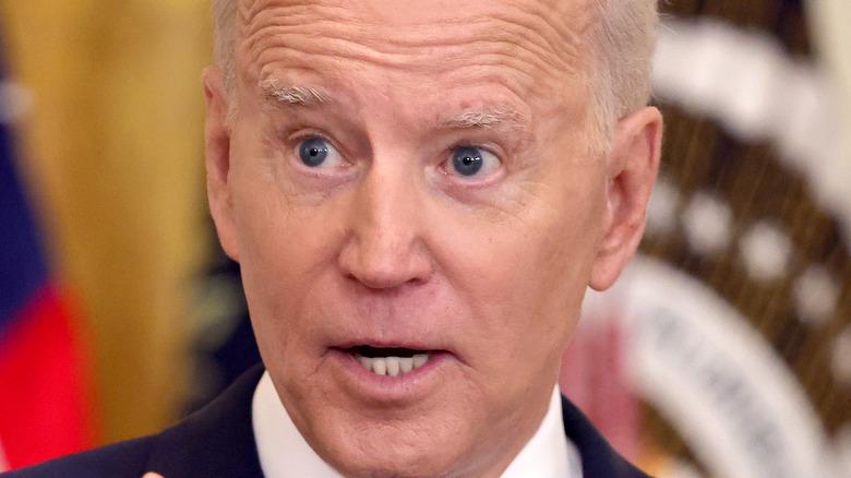 President Joe Biden serious