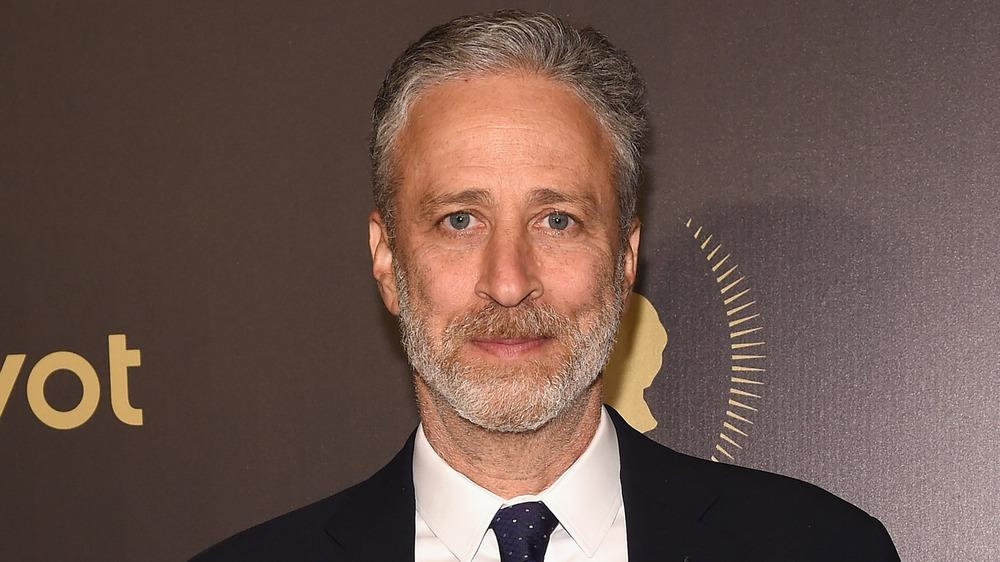 Jon Stewart poses
