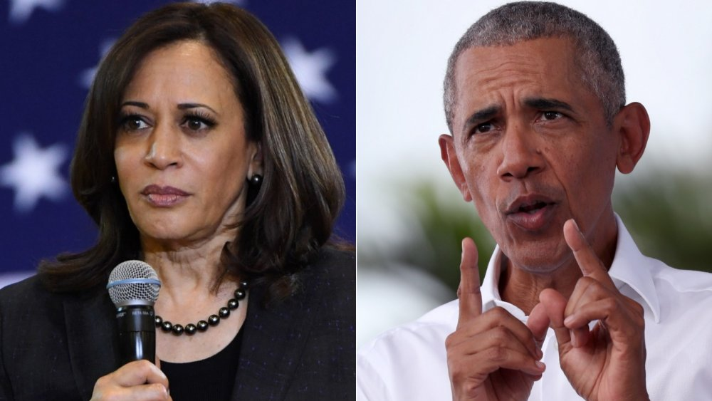 Kamala Harris at a town hall in 2019; Barack Obama at a rally in 2020
