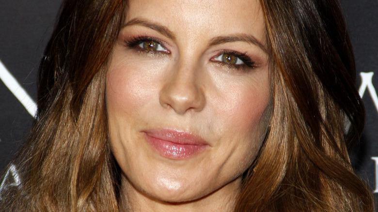 Kate Beckinsale with lips pressed together