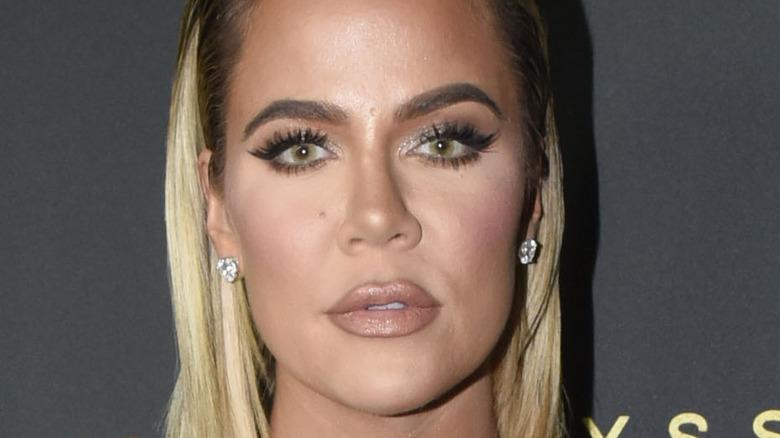 Khloe Kardashian staring at camera