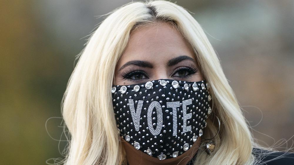 Lady Gaga in a mask