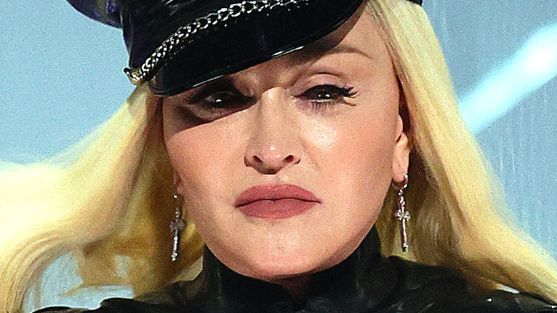 Madonna on stage at the 2021 VMAs