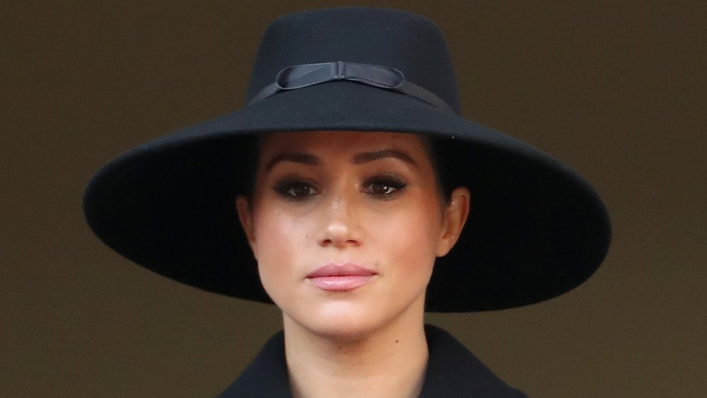 Meghan, Duchess of Sussex attends the annual Remembrance Sunday memorial at The Cenotaph