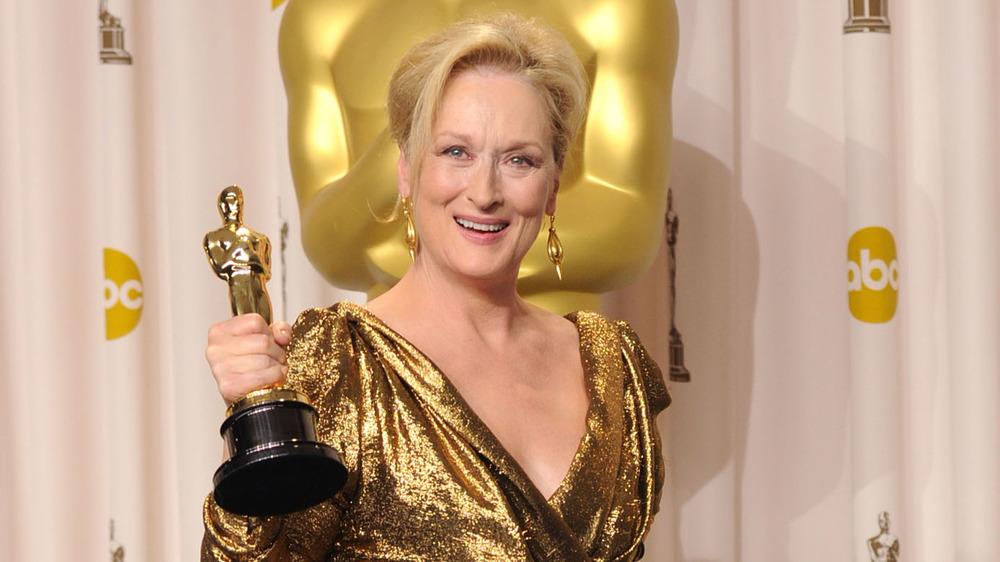 Meryl Streep gold dress Oscar