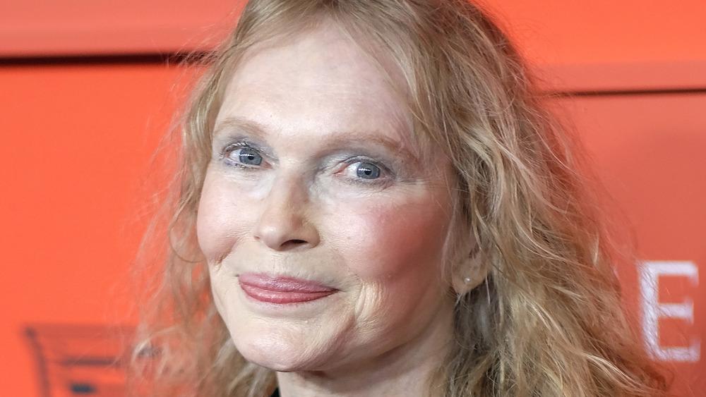 Mia Farrow smiling on the 2019 TIME 100 red carpet