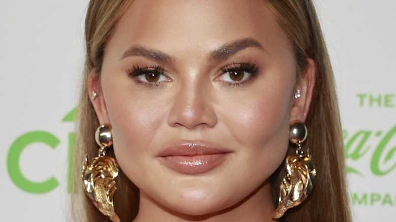 """Chrissy Teigen at the """"VAX Live"""" event in 2021"""